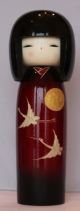 Sunset Crane Japanese Kokeshi Doll