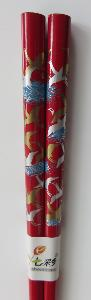 Chopsticks | 1 pair | Red lacquered Bamboo | Cranes design