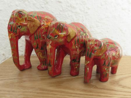 Red Forest Themed Kashmiri Elephant Family