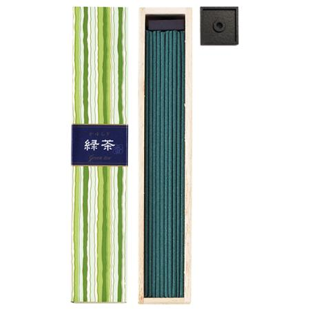 Green Tea fragrance Japanese Incense | Kayuragi by Nippon Kodo | Box of 40 Sticks & holder