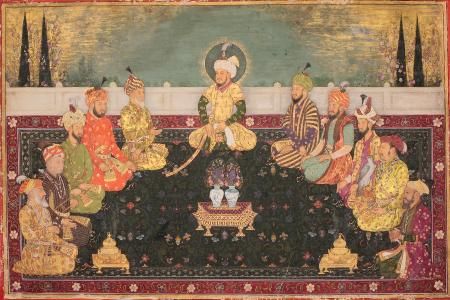 Mughal Emperors of the 18th Century meeting and burning Incense
