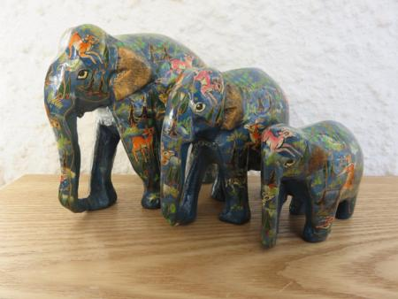 Blue Jungle Themed Kashmiri Elephant Family