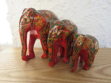 Red, Black and Gold Floral Themed Kashmiri Elephant Family