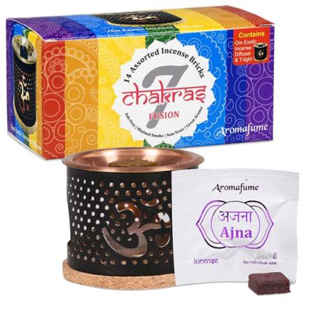 Aromafume Incense Brick | 7 Chakras Starter Set | Complete kit including diffuser, bricks and candle