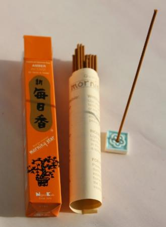 Morning Star Amber Incense | Box of 50 Sticks & Holder by Nippon Kodo