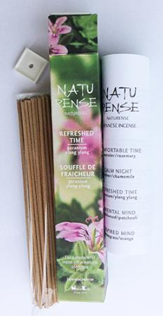 Naturense Japanese Incense | Refreshed Time | 40 Sticks & holder | by Nippon Kodo