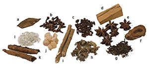 Japanese incense ingredients, roots, barks, flowers and aromatic plants